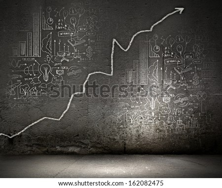 Background image with graph on wall rising up - stock photo