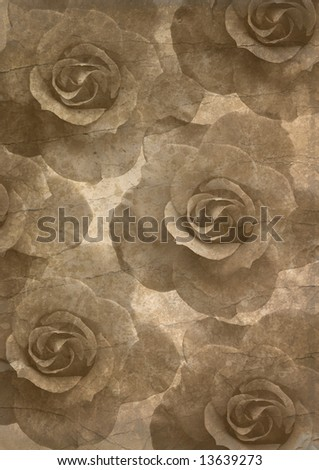 Background image with interesting old papers texture, roses elements - stock photo