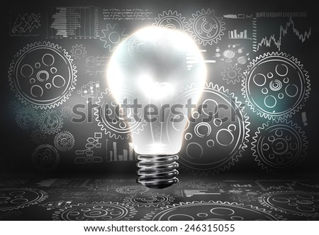 Background image with light bulb and cogwheels - stock photo