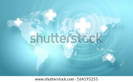 Background image with medical symbol against digital background - stock photo