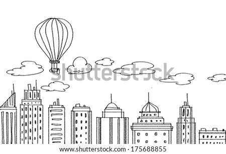 Background image with modern city pencil sketch - stock photo