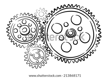 Background image with sketched gears on white backdrop - stock photo