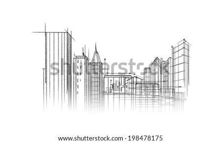 Background image with urban construction pencil sketch - stock photo