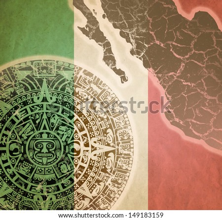 Background in American Indian Style with Mayan calendar, Mexican flag and map on old paper - stock photo