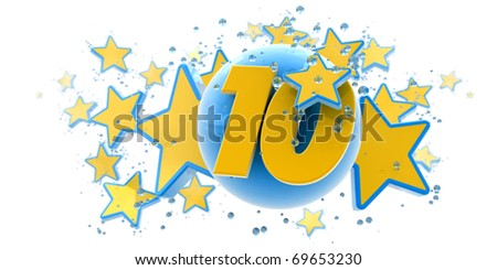 Background in blue and yellow colors with stars drops and spheres and the number ten
