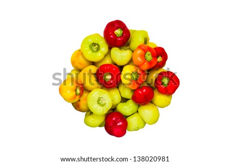 Background in circle made of fresh peppers/fresh peppers/isolated