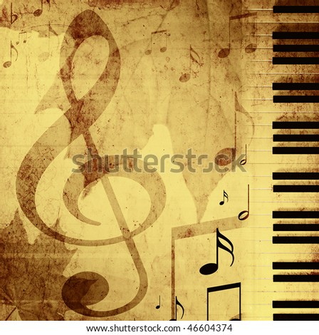 Background in retro - style, with musical symbols - stock photo