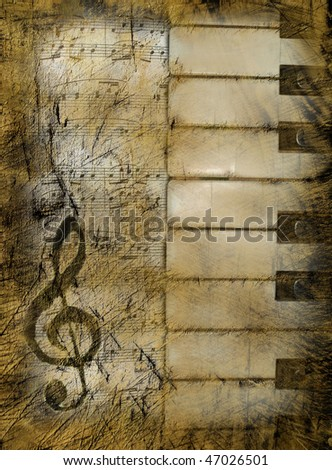 Background in retro style, with musical symbols - stock photo