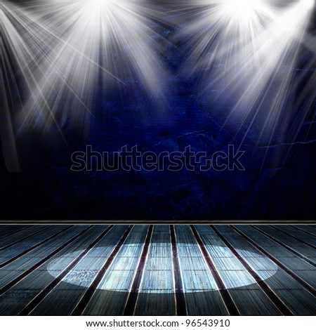 Background in style modern. Interior shined with a projector - stock photo