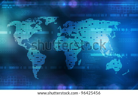 background in technology and the world map - stock photo