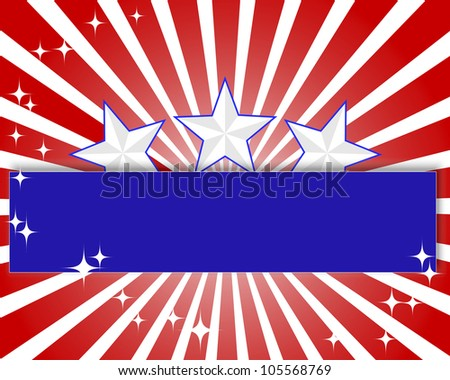 Background Independence Day with a paper banner and stars. Raster version - stock photo