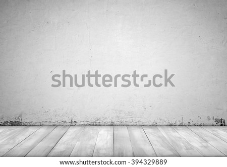 Background interior. Concrete wall and wood floor