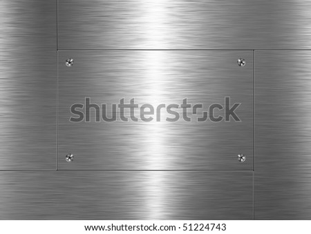 Background is made of brushed metal plate - stock photo