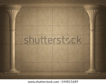 Background is two ancient columns. High-resolution 3D render - stock photo
