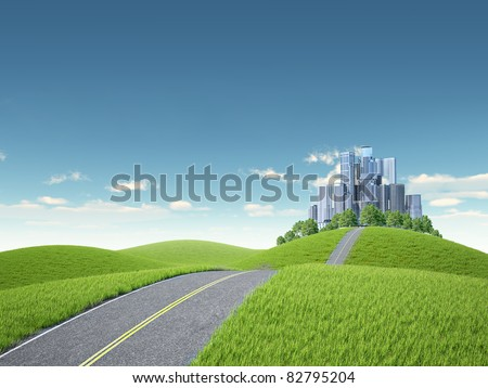 Background landscape  - green hills with tree and cityscape - stock photo