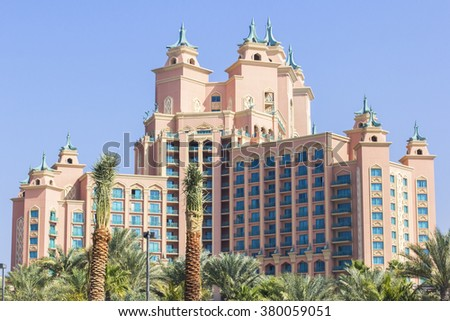 background landscape overlooking the luxury hotel Atlantis on the top of the Palm in Dubai - stock photo