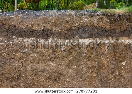 Background layer soil fertility, which was weighed down with gravel for roads. - stock photo