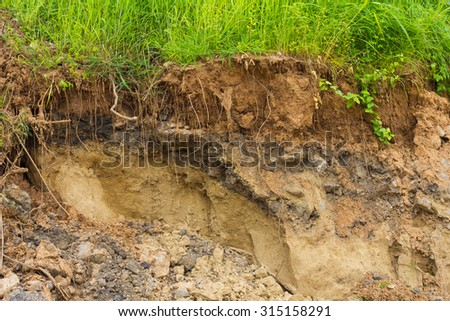 Background layers of soil and rock that was eroded and drilling until a cliff covered with grass. - stock photo