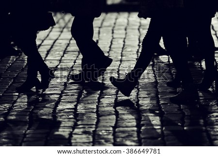 background legs silhouettes people crowd pedestrians city - stock photo