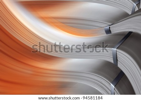 Background made by transformation of metal plates, with gradient. - stock photo