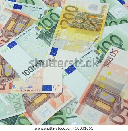 Background made from 200, 100 and 50 euro banknotes
