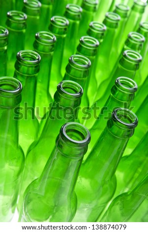 Background Made From Empty Beer Bottles - stock photo