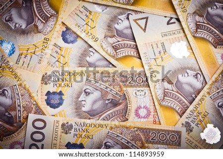 Background made from polish money banknotes - stock photo