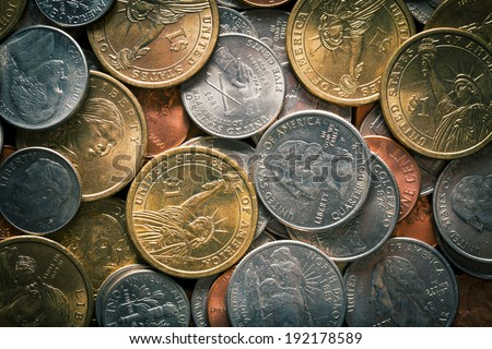 background made from U.S. coins - stock photo