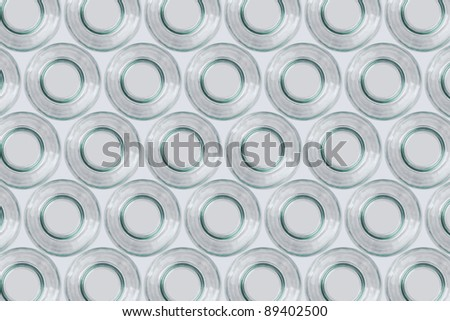 background made from white glass bottles, take down