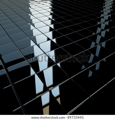 Background made of black flat glossy cubes with strong reflection. High resolution 3d-rendering, square format