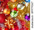 background made of christmas balls and tinsel - stock photo