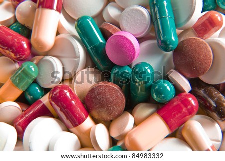 background made of colorful pills - stock photo