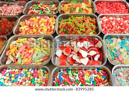 Background made of colorful sweets and candies - stock photo