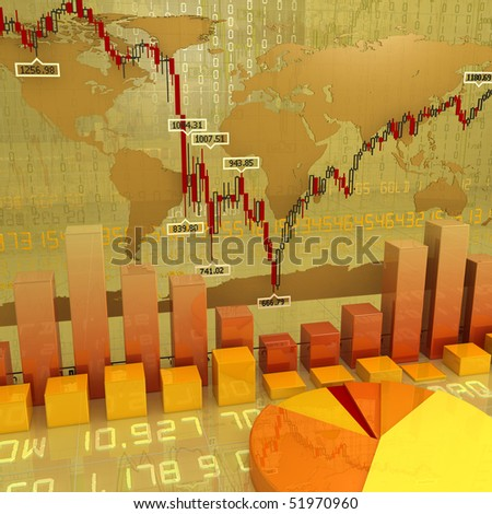 background made of  different types of charts - stock photo