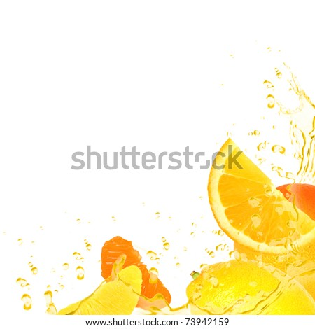 Background made of fruit isolated on white - stock photo