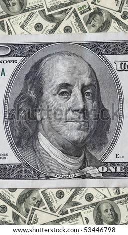 Background made of hundred dollar bank notes - stock photo