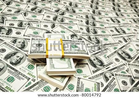 Background made of many dollars - stock photo