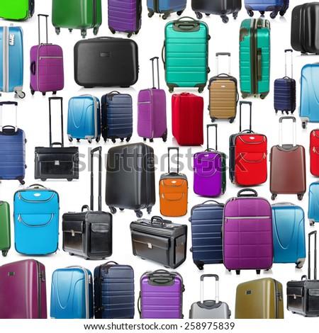 Background made of many suitcases on white - stock photo