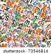 Background, made of newspaper letters, numbers and punctuation marks - stock photo
