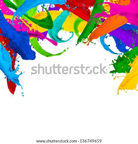 background made of paint splashes - stock photo