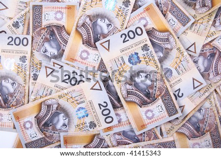 background made of polish 200 zloty banknotes - stock photo