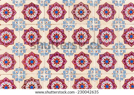 Background made of traditional Portuguese ceramic tiles called azulejos - stock photo