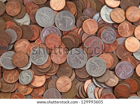Background made of various US coins - stock photo