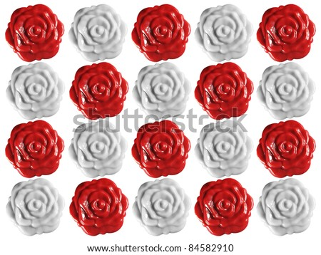 Background made of wax roses seals isolated over white background - stock photo