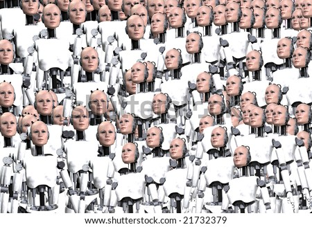 Background made out of lots of robot women.