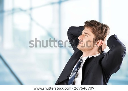 Background. Man sitting and thinking drawing concept city - stock photo