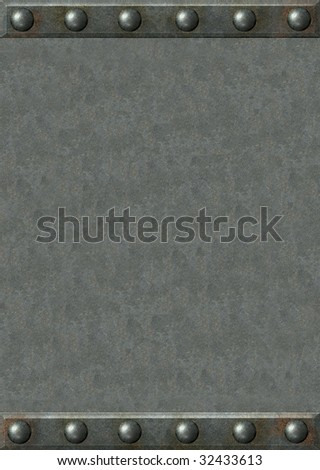 Background - metal plates with rivets - stock photo