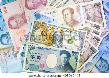 Background money rich Banknotes and coin