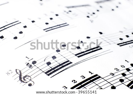 Background music.Note pad - stock photo