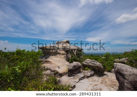 Background nature of stone mountain park with blue sky. Geological phenomenon formed through erosion, Pa Hin Ngam National Park, Thailand. - stock photo